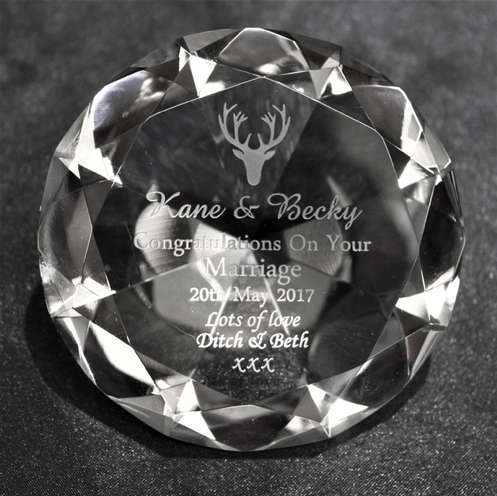 Personalised 80mm Clear Crystal  Diamond Paperweight Engraved